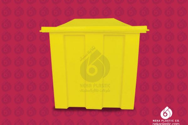 سطل درب دار 400 لیتری پلی اتیلنی نکاپلاستیک